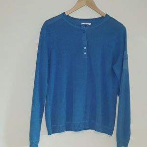 COPY - Talbots blue linen/ cotton henley shirt med